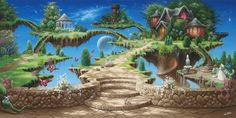 Fairy Tale Forest with Sky   stars, fantasy, sky, The edge of forever, art, castle, fairytale ...