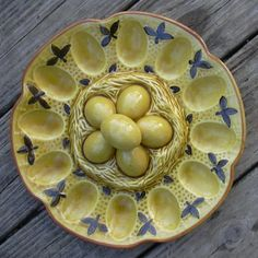 Image detail for -Reserved for mamajohn---VINTAGE Ceramic Egg Plate---Deviled/Easter