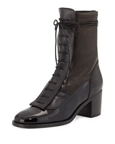 X2S8R Laurence Dacade Inde Lace-Up Leather Ankle Boot, Black