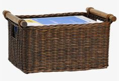 The Basket Lady Deep Wicker DVD or Paper Basket Antique Walnut Brown, 2 sizes shown