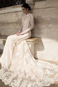 wedding dress with high neck and  sheer lace sleeves
