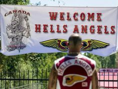 "Hells Angels members from across the country are in town this weekend for their ""Canada Run,"" an annual convention of sorts. (Yes, bikers have conventions. Outlaws Motorcycle Club, Motorcycle Clubs, Bike Gang, I Miss You Dad, Angels Logo, Hells Angels, Garage Art, Harley Davidson, Red And White"