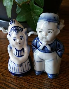 Vintage Delft Dutch Boy and Girl Salt and Pepper Shakers by EmptyNestVintage on Etsy