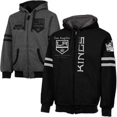 LA Kings Dual Edge Reversible Full Zip Hoodie - Black/Charcoal