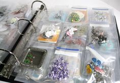 Organizing with 3 Ring Binders – Embellishments - Basteln Organisation Bead Organization, Bead Storage, Craft Room Storage, Sticker Organization, Paper Storage, Storage Ideas, Organizing Jewelry, Organizing Life, Jewelry Storage