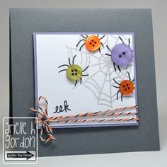 halloween-Colorful spiders made from buttons? Who knew how cute these would be! Use a pen or marker to draw the legs, and a web stamp if you have one. Add some black/orange/white twine for a litt class and you have a great handmade Halloween card. Theme Halloween, Diy Halloween Cards, Homemade Halloween, Halloween Decorations, Tarjetas Diy, Button Cards, Thanksgiving Cards, Fall Cards, Kids Cards