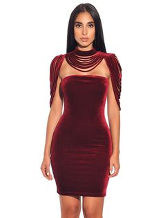 3a07031384 Victoria Removable Collar Stretch Velvet Strapless BodyCon Dress