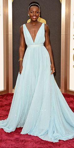 LUPITA NYONG'O in pale blue custom Prada and  Fred Leighton gold-and-diamond headband - 2014 Oscars Red Carpet