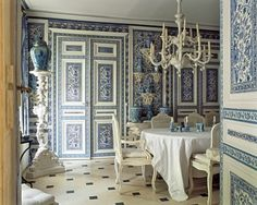 Room of the Day~ blue and white dining room with ginger jars, black and white tile and chandelier - Didier Haspeslaghs 11.15.2013