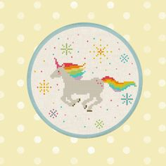 Rainbow Unicorn. Best Seller Cross Stitch Pattern by andwabisabi