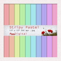 Digital Paper Pack Stripy Pastel Patterns Backgrounds Texture Overlay - Instant Download