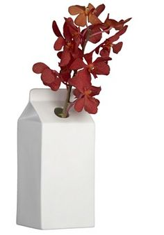 I've already made a wooden milk carton birdhouse--why not a ceramic milk carton vase?!?!?!  drb