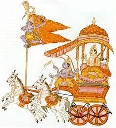 Warrior Arjuna with Krishna - driving the chariot in the epic The Mahabharata. Bhagavata Purana, Yoga Images, The Mahabharata, Hanuman, Krishna Radha, Great Warriors, Krishna Painting, India Art, Epic Art