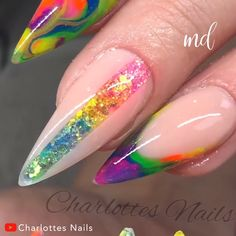 If you are a fan of neon colors, this nail set is just for you! Nail Art Designs Videos, Blue Nail Designs, Nail Art Videos, Simple Nail Designs, Chrome Nail Powder, Chrome Nails, Powder Nails, Nail Manicure, Diy Nails