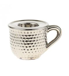 CERAMIC MUG_ TEA LIGHT HOLDER IN SILVER COLOR 12X9X7