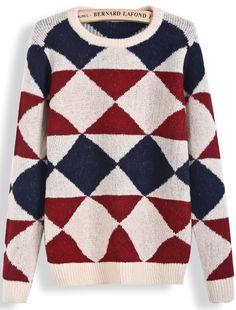 Apricot Long Sleeve Diamond Patterned Knit Sweater US$25.58