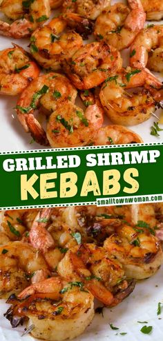 Enjoy the summer grilling season with this delicious seafood recipe! Grilled Shrimp Kebabs is a quick and easy recipe perfect when served as an appetizer or with a simple garden salad with a light vinaigrette and zucchini noodles. Save this healthy recipe! Grilling Recipes, Seafood Recipes, Appetizer Recipes, Cooking Recipes, Healthy Recipes, Grilling Ideas, What's Cooking, Appetizers, Seafood Dinner