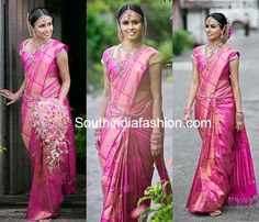 Bride in Beautiful Pink Bridal Saree – South India Fashion South Indian Weddings, South Indian Bride, Indian Bridal, Kerala Bride, Hindu Bride, Wedding Sari, Tamil Wedding, Wedding Dresses, Wedding Outfits For Women