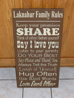 $49.99 Family Rules sign - personalized with your name!