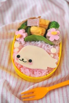 seal bento!!! maybe substitute eggs for meat?
