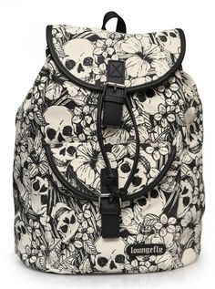 """""""Floral Skull"""" Backpack by Loungefly (White/Black)"""