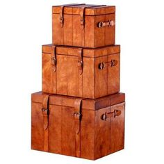 Leather Nesting Trunk Boxes - Set of 3 on Chairish.com