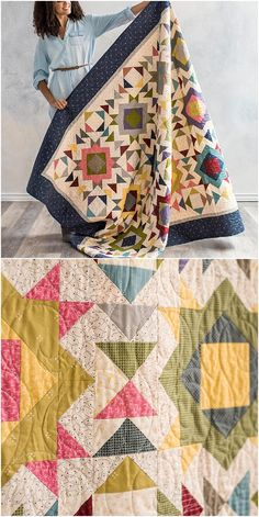 Goose Iron Quilt Kit by Craftsy.com. Dainty prints dance within flying geese, quarter-square triangle, and square-in-a-square units. #modernquilt #modernquilting #quiltpattern affiliate link
