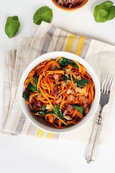 Garlic Sweet Potato Noodles with Pancetta and Baby Spinach