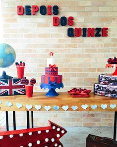 Inspiração de mesa de festa com tema Londres/Inglaterra! Amei!