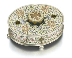 A Fabergé parcel-gilt silver and cloisonné enamel inkwell, Moscow, 1899-1908