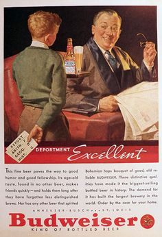 1935 Budweiser Beer Ad ~ Kid's Bad Report Card