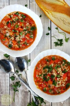 Clean Eating Vegan Stuffed Pepper Soup...made with clean ingredients and it's vegan, gluten-free and dairy-free | The Healthy Family and Home #vegan #glutenfree cleaneating #soup