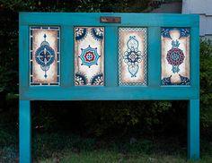 Wood door, hand-painted, antique, vintage, wall decor or use as queen headboard, king headboard, twin headboard OneInAMillionFinds