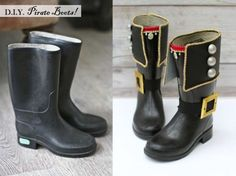 Pirate Boots Makeover Project by Kate's Creative Space. See what else she made for a pirate-themed birthday party, too!: Pirate Boots Makeover Project by Kate's Creative Space. See what else she made for a pirate-themed birthday party, too! Pirate Day, Pirate Birthday, Pirate Theme, Pirate Costume Kids, Cowgirl Costume, Costume Carnaval, Pirate Adventure, Diy Costumes, Teen Costumes