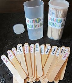 "Scott Foresman Reading Street Stick Game -- Upcycled Crystal Light Containers with wight words.  I would use both ends with a ""challenge"" word on the other side.  (You can download labels for 1$ at her store if you use SF) via Suesstastic Classroom Inspirations"
