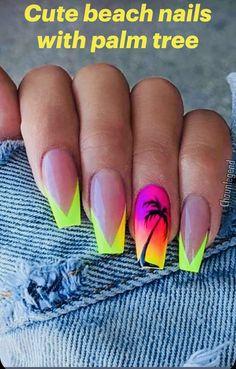 Summer Acrylic Nails, Pastel Nails, Nail Colors For Pale Skin, Checkered Nails, August Nails, Palm Tree Nails, Confetti Nails, Transparent Nails, Cute Summer Nails