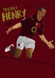 T.HENRY Arsenal Wallpapers, Thierry Henry, Football Art, Arsenal Fc, Soccer Players, Graphics, Board, Illustration, Artwork