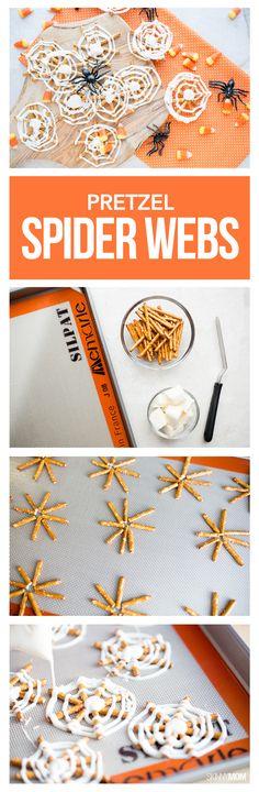 Make these Pretzel Spider Webs for a fun Halloween snack!
