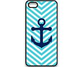 iPhone  Hard Case Tiffany Blue And White Arrowed iPhone 4 / 4S / Case With Navy Blue Anchor. $7.99, via Etsy.