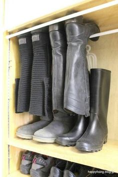 tension rods for boot storage! Boot Storage, Closet Storage, Closet Organization, Storage For Boots, Room Closet, Master Closet, Closet Space, Organizar Closets, Boot Rack