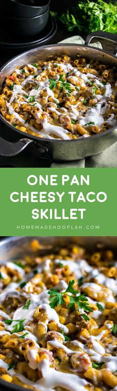 One Pan Cheesy Taco Skillet! A simple one-pan meal that's like a gourmet version of Hamburger Helper. Perfect for busy weeknights. And you can make it as spicy (or not) as you want! | HomemadeHooplah.com