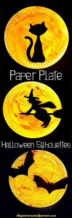 Halloween Paper Plate Silhouette Crafts Halloween Paper Plate Silhouettes with printable template . Choose from a black cat, a witch or bat Halloween silhouette - Halloween arts and crafts for kids. Diy Halloween, Theme Halloween, Holidays Halloween, Halloween Decorations For Kids, Halloween Paper Plate Crafts For Kids, Halloween Art Projects, Halloween Labels, Halloween Costumes, Halloween Stuff