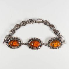 9e9f8d254 Sterling Silver Marcasite Amber Rose Flower 7 1/2 inch Bracelet, Vintage  925 Silver Bracelet, Mother's Day Gift