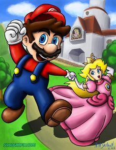 Mario and Peach by ninjatron.deviantart.com on @deviantART