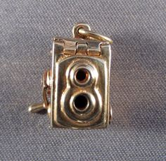 Mechanical 14K Gold Camera Charm Opens to Red Enamel Heart & Handle Turns C.1950 #Traditional