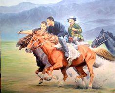 """Kazakh painter Kanat Zharas. """"Kokpar"""", i.e. Kazakh national sport game"""