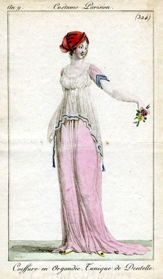 "Costume Parisien 324. Also: French Republic ""An 9"" fashion plates (Sept 1800 to Sept 1801) Fashion plates from 1 year of Costume Parisien"