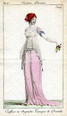 An 9 Costume Parisien #324 Coeffure en Organdie. Tunique de Dentelle.