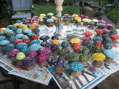 Concrete Mushrooms--- I was at Gardeners pathway workshop when a guy showed how to make these. This reminds me: I. Need. To. Do. This.
