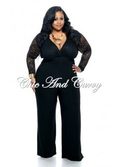 0c1032df46a New Plus Size Jumpsuit with Lace Top and Wide Legs in Black 1x 2x 3x Plus